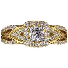 Vera Wang Love Diamond Engagement Ring 1.00 TCW 14 Karat Yellow Gold