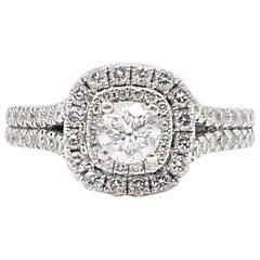 Vera Wang Halo Diamond Engagement Ring Rounds 1 1/2 Carat in 14 Karat Gold