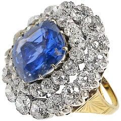 9.30 Carat Ceylon No Heat Sapphire Old Mine Cut Diamond Gold Cocktail Ring