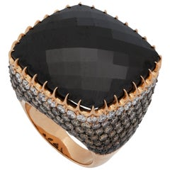 Crivelli 18K Gold Diamond and Onyx Cocktail Custer Ring