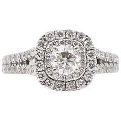 Vera Wang Love Diamond Engagement Ring 1.50 Carat in 14 Karat White Gold