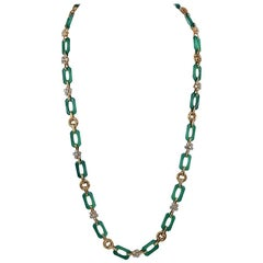 Van Cleef & Arpels Diamond, Chrysoprase Long Necklace