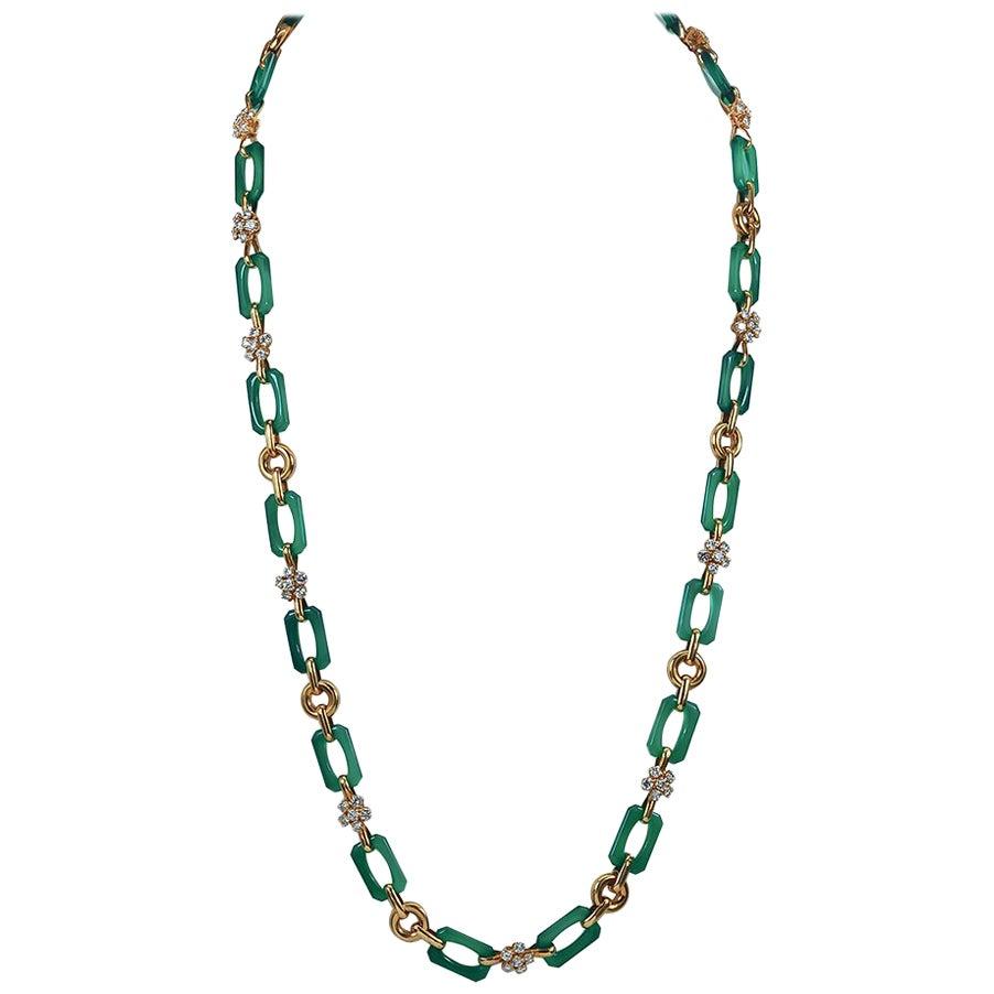 Van Cleef & Arpels Diamond, Chrysoprase Long Necklace
