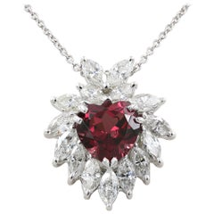 Heart Shaped Rhodolite Garnet and Marquise Diamond Necklace in Platinum