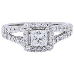 Helzberg Diamond Ring 1.00 Carat Princess and Round Cuts 18 Karat White Gold