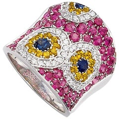 Cellini Jewelers 18kt white gold, 3.07 MultiColor Sapphire and Diamond Ring