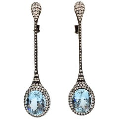 Aquamarine and 4.30 Carat  Diamond Long Drop 18 Karat Earrings