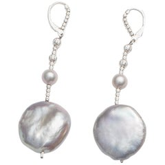 Pearl Earrings with Grey Coin Pearls and Diamond Cut Beads in a Drop Design