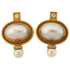 Elizabeth Gage Mabe Pearl Valois Earrings in 18 Karat Yellow Gold