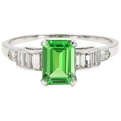 Emerald Cut Natural Tsavorite and Baguette Diamond Ring in Platinum