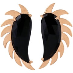 Claw Half Moon Studs Black Onyx and Rose Gold