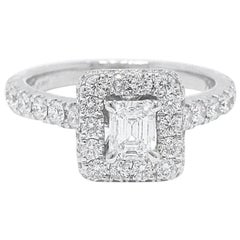 Neil Lane Diamond Engagement Ring Emerald Cut 1.375 Carat in 14 Karat White Gold