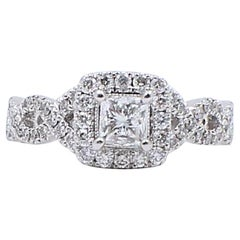 Neil Lane Princess 1.00 Carat Princess Cut Diamond Ring 14 Karat White Gold