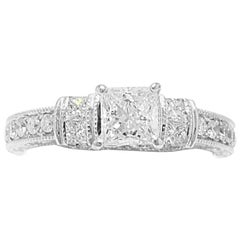 Neil Lane Bridal Princess Cut 1.22 TCW Diamond Engagement Ring in 14K White Gold
