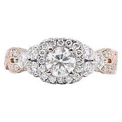 Neil Lane Diamond Engagement Ring 1 5/8 Carat 14 Karat Rose Gold and White Gold
