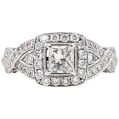 Neil Lane Princess Cut Diamond Engagement Ring 1.38 Carat in 14 Karat White Gold