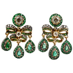 Georgian Emerald European Cut Diamond Earrings