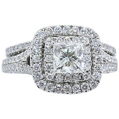 Neil Lane Princess Diamond Engagement Ring with Band 2.25 TCW in 14 Karat Gold