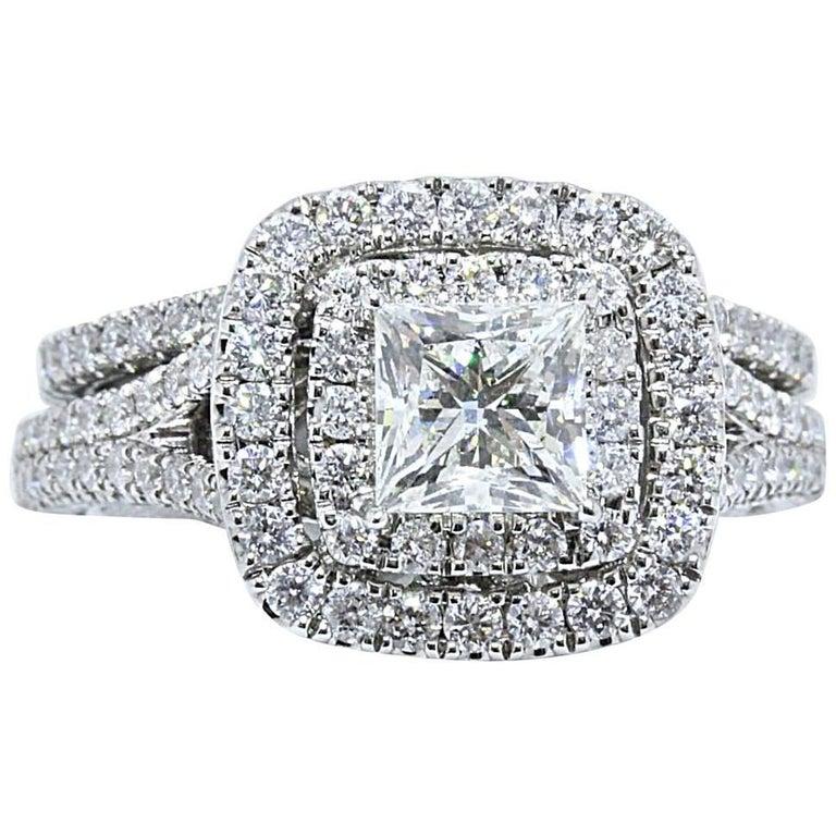 Neil Lane Princess Diamond Engagement Ring with Band 2.25 TCW in 14 Karat Gold