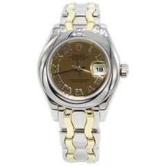 Rolex Ladies Pearlmaster 69329 18 Karat Yellow and White Gold Diamond on Bezel