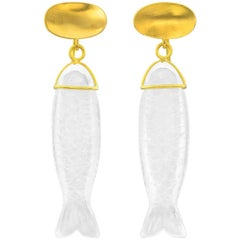 Loren Nicole Silla Collection Gold Rock Crystal Fish Earrings