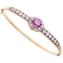 Victorian Pink Sapphire Diamond Gold Silver Bangle Bracelet