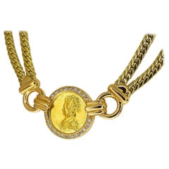 Mellerio dits Meller Diamond 18 Karat Yellow Gold Coin Necklace 40cm