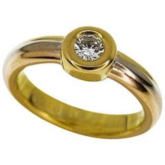 Cartier 18 Karat Yellow and White and Pink Gold Monostone Diamond Ring  US 3.5-4