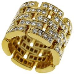 Cartier Maillon Panthère Full Diamond Ring 750 18 Karat Yellow Gold