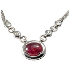 Vintage Original 1980 Large Cabochon Red Tourmaline and Diamond Gold Necklace