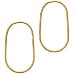 Minimal Snake Chain Gold Plated Silver Small Hoop Shape Greek Earrings