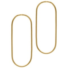 Minimal Snake Chain Gold-Plated Silver Large Hoop Shape Greek Earrings