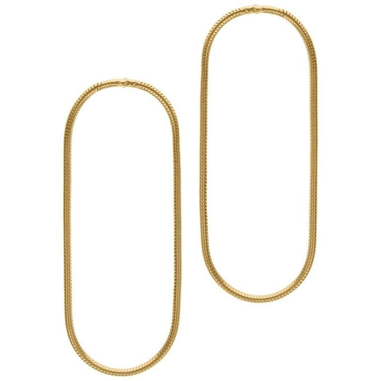Minimal Snake Chain Gold-Plated Silver Large Hoop Shape Greek Earrings