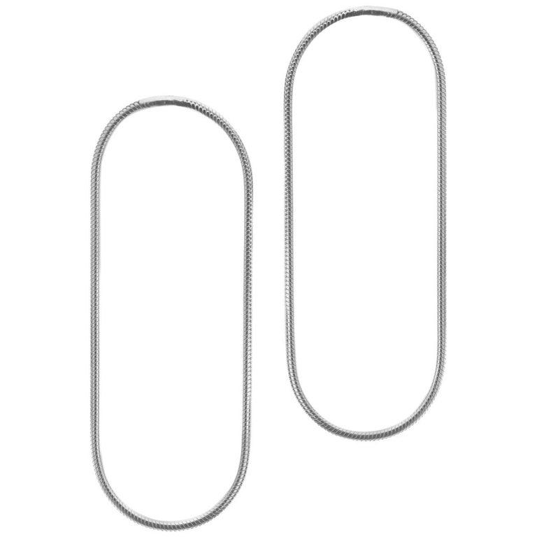 Minimal Snake Chain Sterling Silver Large Hoop Shape Greek Earrings