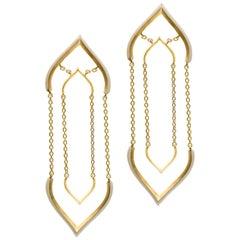 Sterling Silver Gold-Plated Off-White Enamel Lotus Shaped Motif Greek Earrings