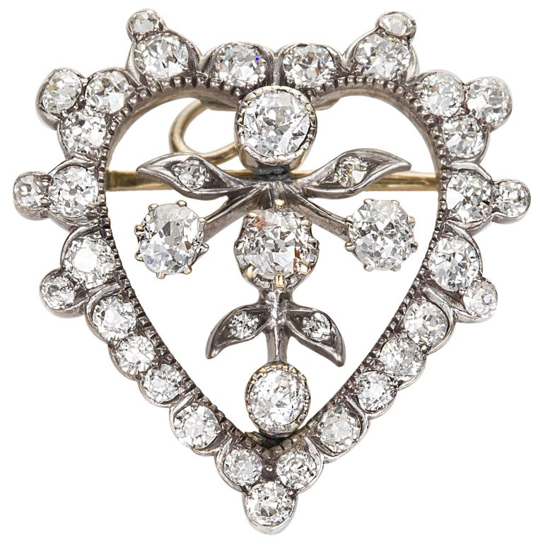 Victorian 1.75 Carat Old European Cut Diamond Heart Shaped Diamond Pendant Pin