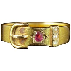 Antique Victorian Ruby Pearl Buckle Ring Dated 1881