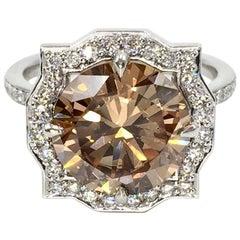 4.15 Carat Fancy Orangey Brown Round Diamond Modern Art Deco Style Ring