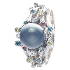 21 Karat White Gold Diamond Women Pearl Ring by Feri