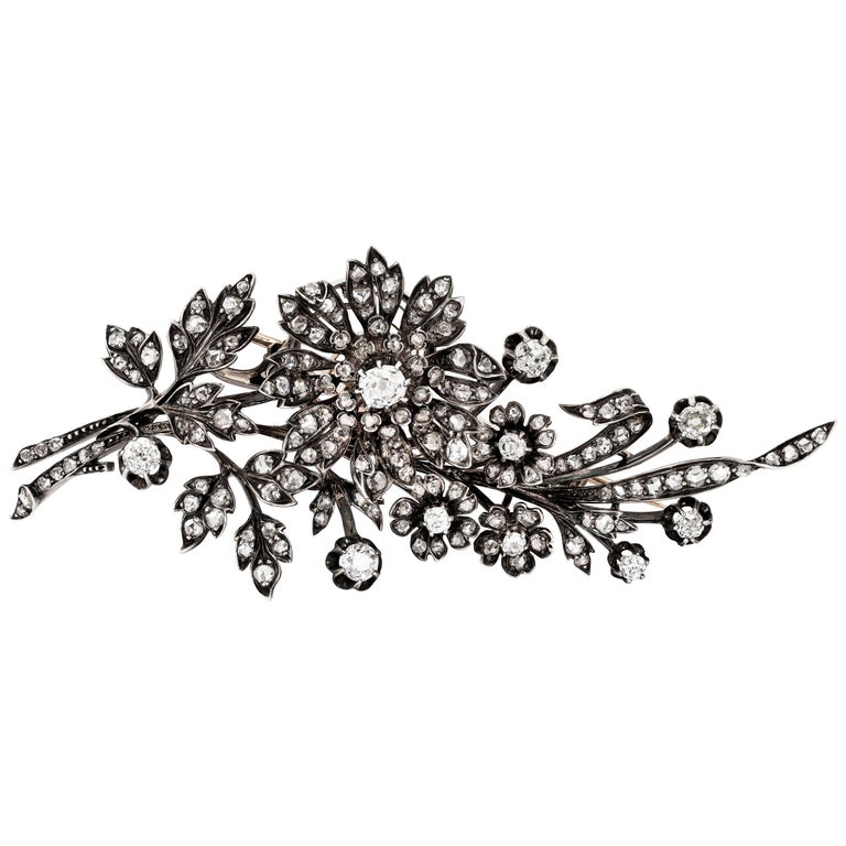 Victorian Diamond Floral Tremblant Brooch