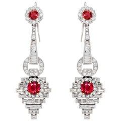 Pair of Burmese Ruby and Diamond Earrings