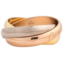 1970s Cartier Trinity Band Ring in 18 Karat Rose, White and Yellow Gold