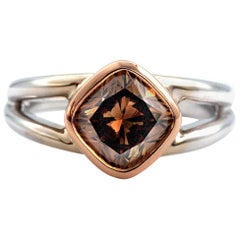 2.12 Cushion Diamond Ring GIA Fancy Dark Orangy Brown 18 Karat Gold