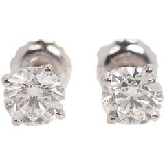 1 Carat Diamond and 14 Karat White Gold Stud Earrings