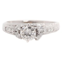 1 Carat Diamond Platinum Engagement Ring, Vintage Inspired