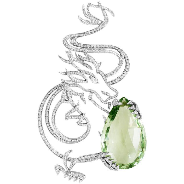 Lorenz Bäumer 55 Carat Green Beryl Diamonds Dragon Brooch For Sale