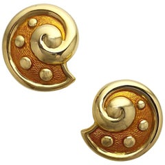 Leo de Vroomen 18 Karat Yellow Gold and Peach Enamel Clip-On Earrings