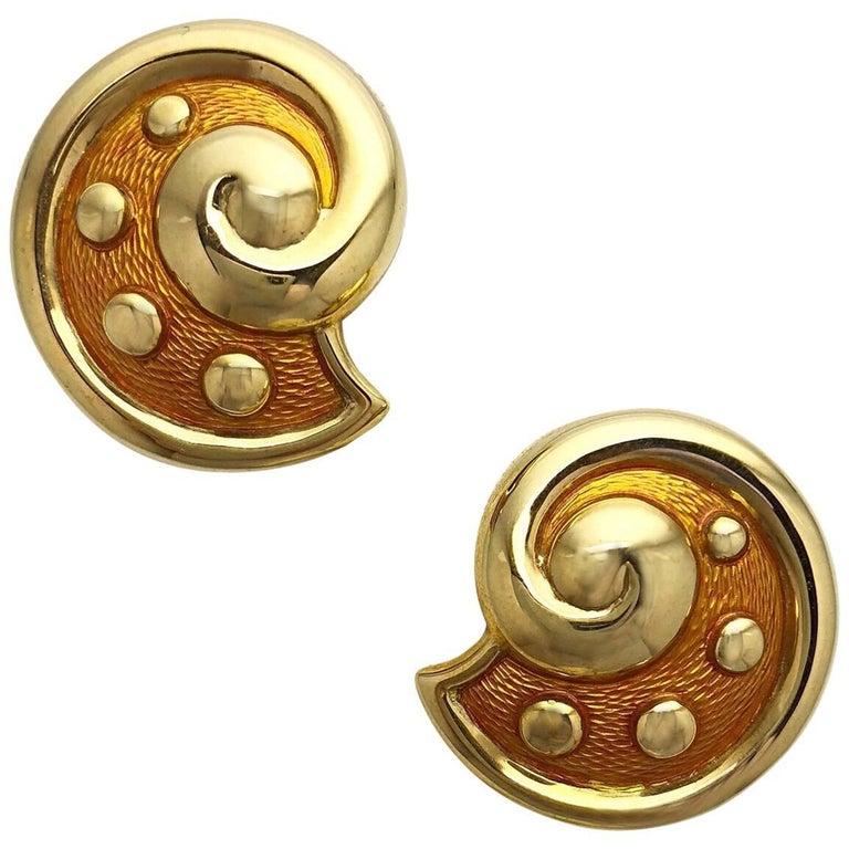 Leo de Vroomen 18 Karat Yellow Gold and Peach Enamel Clip-On Earrings