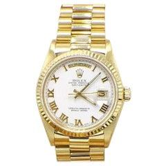 Rolex President Day Date 18038 White Roman Dial 18 Karat Yellow Gold Mint Band
