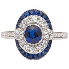 Modern Art Deco Style Sapphire and Diamond Ring
